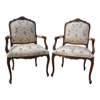 French Floral Upholstered Arm Chairs - a Pair For Sale