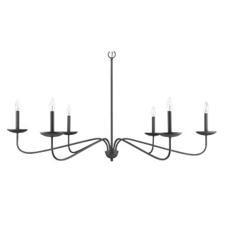 Signature 6 Light Chandelier, Forged Black For Sale