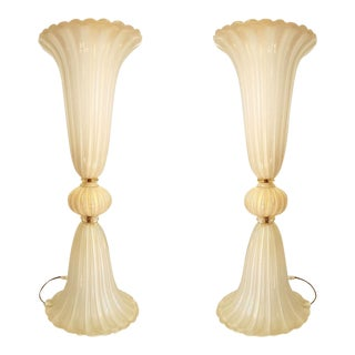 Barovier Style Pair of Large Murano Glass Lamps, Mid Century Modern, 1970s For Sale