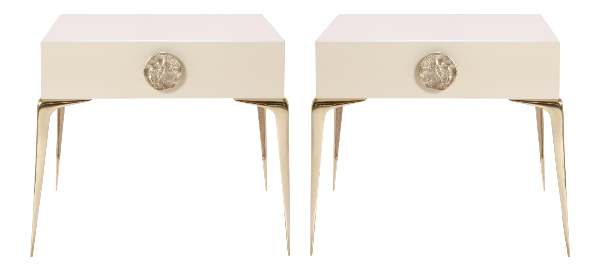 Colette Petite Brass Nightstands In Ivory Lacquer By Montage, Pair