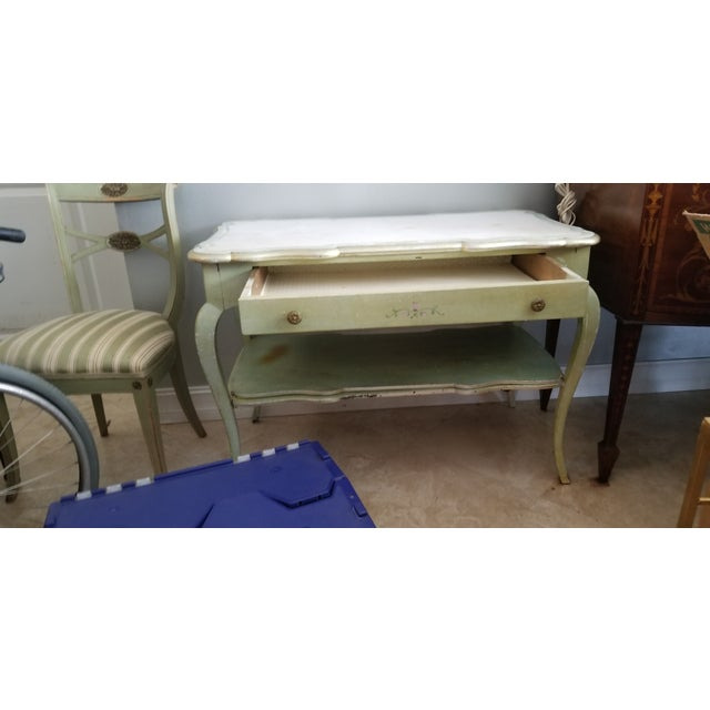 White Mablre Top 1930s Italian Painted Console or Dressing Table For Sale - Image 12 of 13