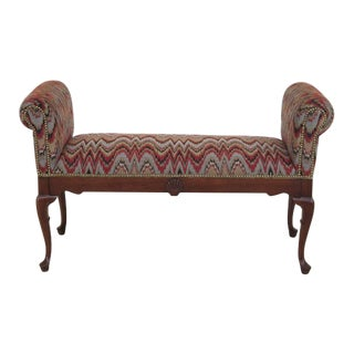 Queen Anne Mahogany Window Bench For Sale