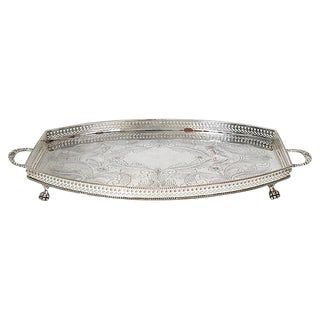 Antique English Sheffield Silver-Plate Gallery Tray For Sale