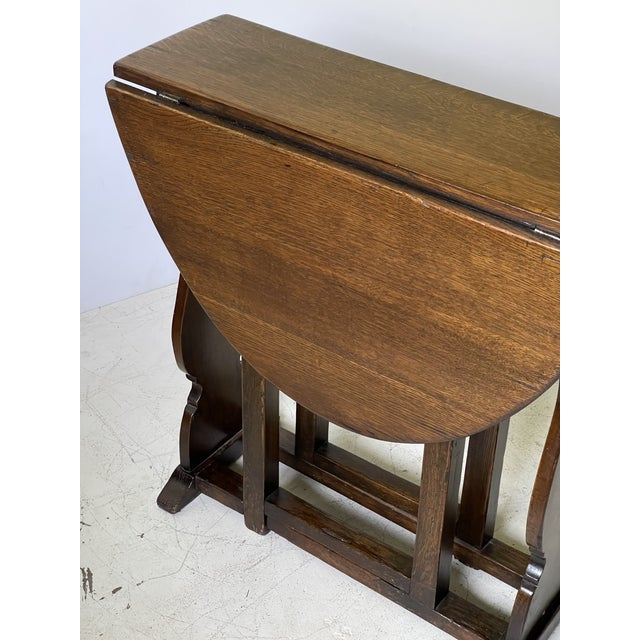 English Dropleaf Trestle Table For Sale - Image 4 of 12