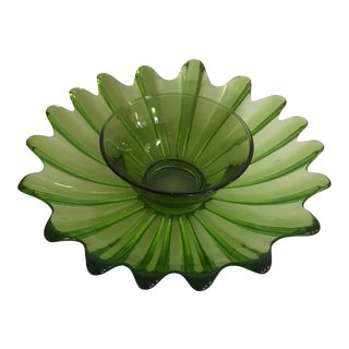 Mid Century Green Glass Platter & Bowl