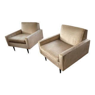 1950s Vintage McCobb Lounge Chairs Upholstered in Velvet - a Pair For Sale