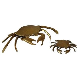Vintage Brass Crab Ashtrays - A Pair