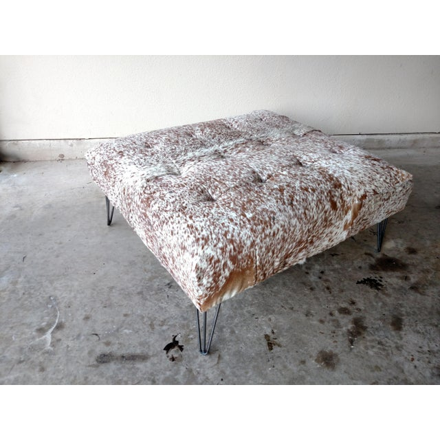 Gambrell Renard Tufted Cowhide Ottoman - Image 7 of 8