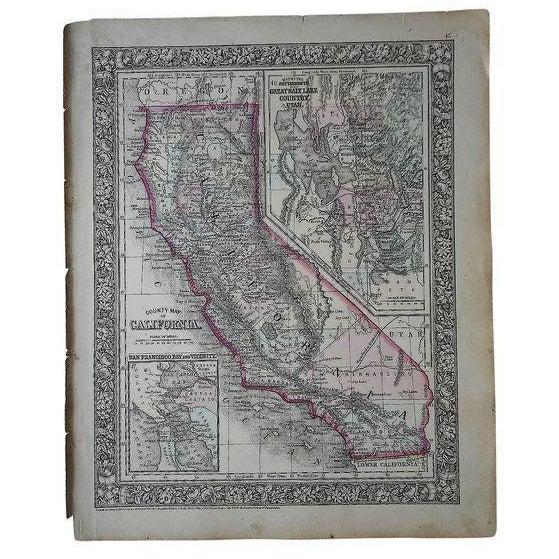 Antique Map of California & Great Salt Lake, Utah - Image 1 of 2