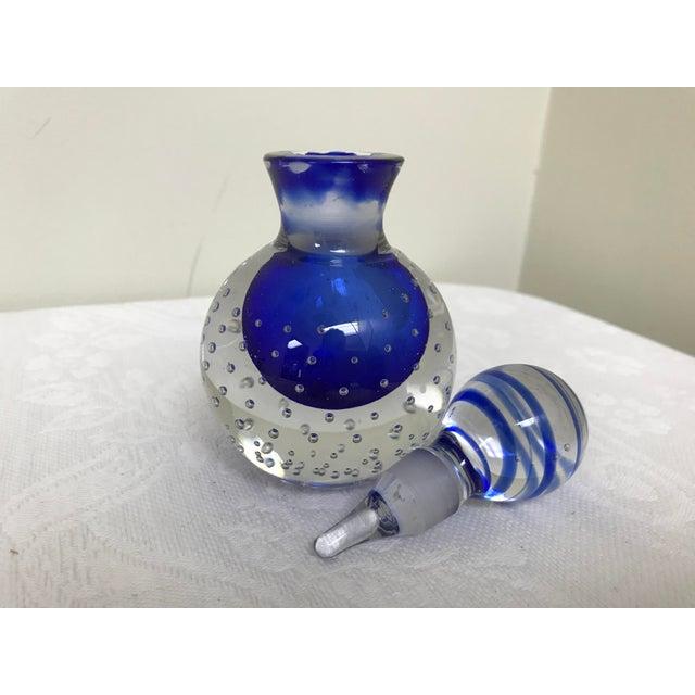 Art Glass Vintage Art Glass Bubble Point Blue Vanity Perfume Bottle For Sale - Image 7 of 9