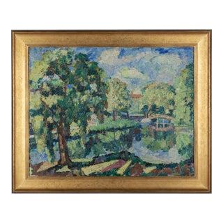 Impressionist Style Landscape Painting by John Dana Bashian For Sale