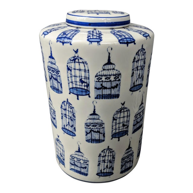 Asian Modern Blue and White Ginger Jar For Sale