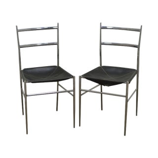 "Gio Ponti Mid Century Modern Chrome & Leather ""Superleggers"" Side Chairs - A Pair"