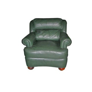 Hollywood Regency Leather Club Lounge Chair For Sale
