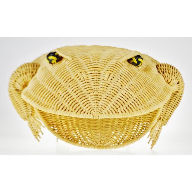 Vintage Natural Wicker Frog Planter Basket For Sale - Image 4 of 13