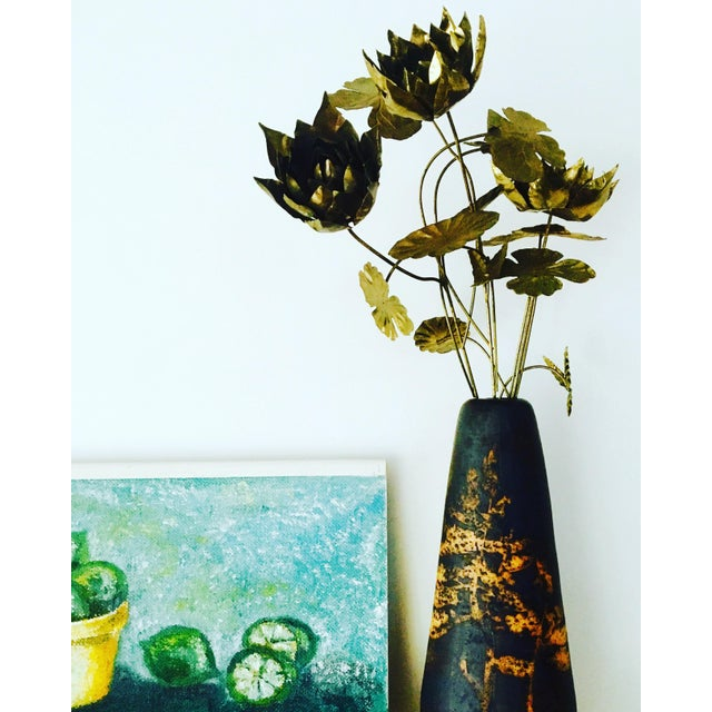 Brutalist Brutalist Brass Flowers & Vase For Sale - Image 3 of 8