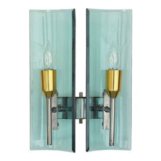 Mid 20th Century Vintage Beveled Sconces by Cristal Arte For Sale