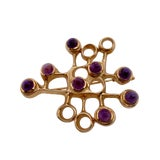 Image of Modernist 14k Gold Amethyst Pin by David andersen For Sale
