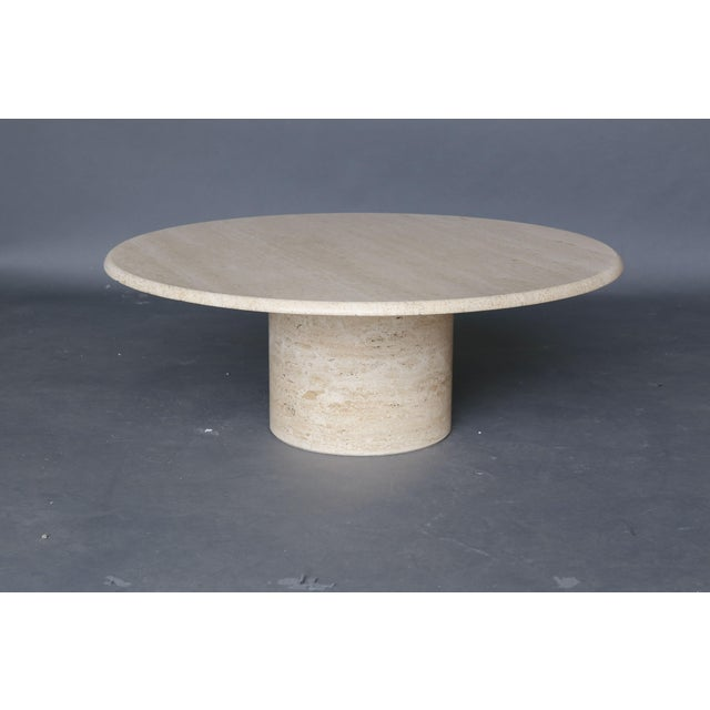 Mid Century Round Travertine Coffee Table - Image 2 of 9