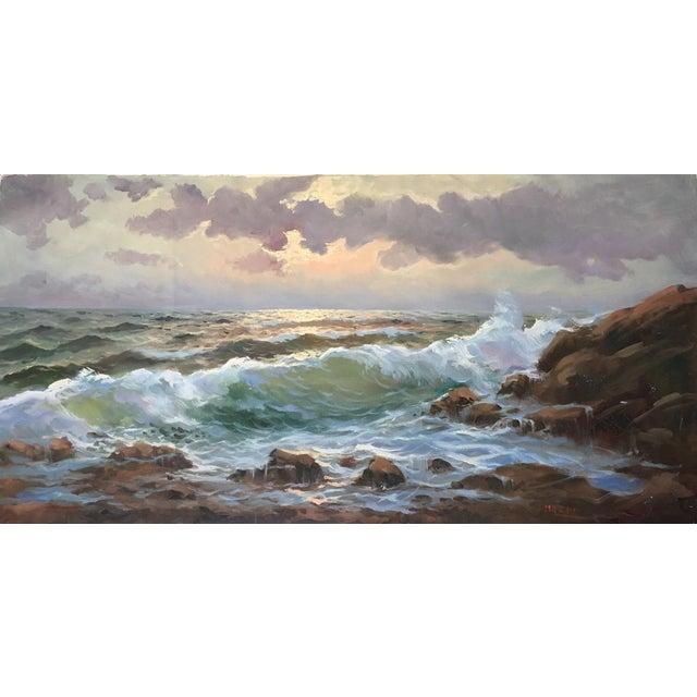 Vintage Large Signed Seascape - Image 1 of 11