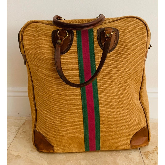 Mid-Century Modern Vintage Italian Style Travel Set of 3 Luggage Jute and Leather, the 3 Pieces For Sale - Image 3 of 13