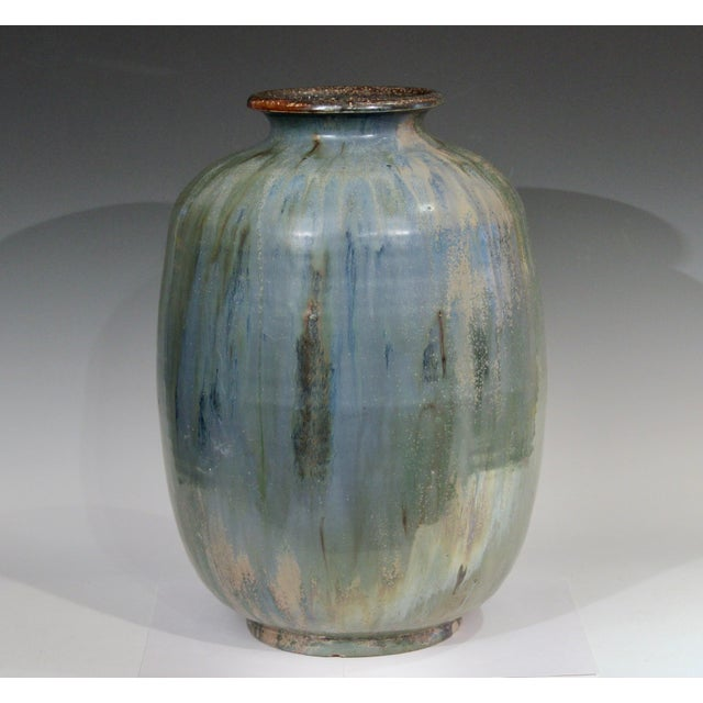Large Roger Guerin Belgian art pottery vase in green, blue, and gold iridescent and crystalline glazes, circa early/mid...