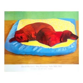 "David Hockney Rare Vintage 1995 Lithograph Print "" Dog Paintings "" Pop Art Exhibition Poster For Sale"