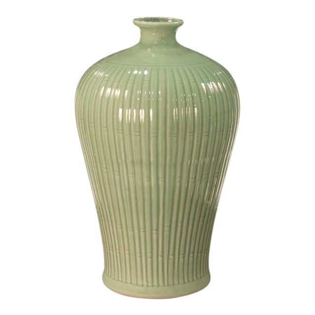 Sarried Ltd Celadon Carved Bamboo Prunus Vase For Sale
