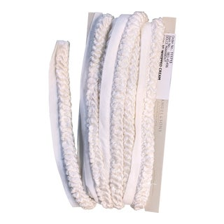 Modern Samuel & Son White Whipped Cream Color Trim of Cording Fabric- 5 3/4 Yards For Sale