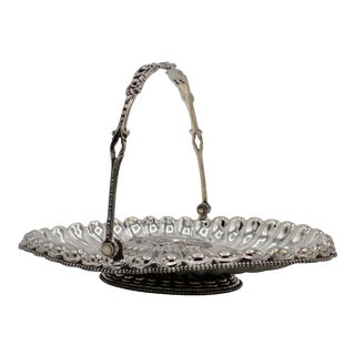 19th Century Silver Plated Bride's Basket For Sale