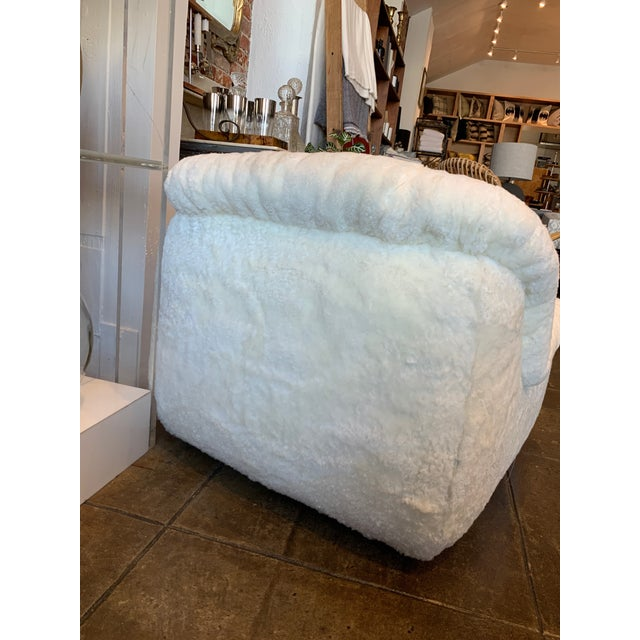 1970's Reupholstered Curly Shearling Swivel Chair - 2 Available For Sale - Image 4 of 11