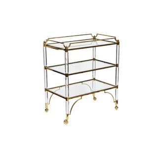 1980's Modern Lucite & Brass Cart For Sale