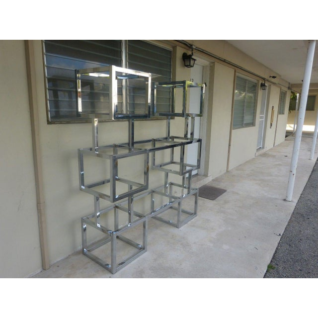 Mid-Century Modern 70's Mod Connected Double Chrome Box Tower Etageres For Sale - Image 3 of 10