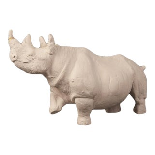 1960s Standing Rhinoceros Plaster Maquette Figure For Sale