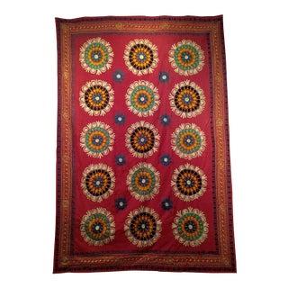 Vintage Uzbek Suzani Embroidery Textile For Sale