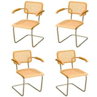 "1970s Art Deco Marcel Breuer Wicker Back ""Cesca"" Chairs - Set of 4 For Sale"