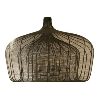 Industrial Modern Large Handmade Woven Metal Shade Pendant For Sale