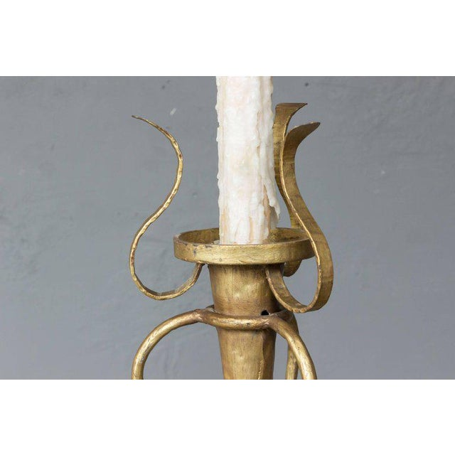 Mediterranean 1950s Spanish Gilt Metal Floor Lamp For Sale - Image 3 of 7