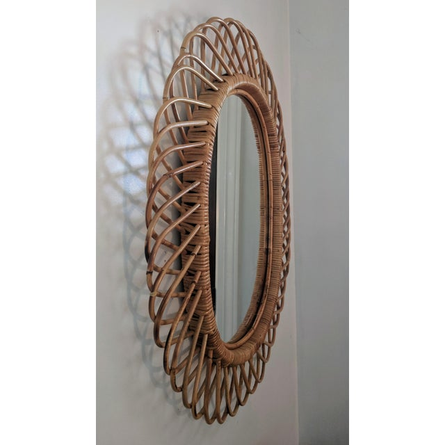 Glass Italian Rosenthal Netter Coiled Wicker Oval Mirror For Sale - Image 7 of 8