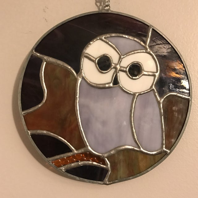 Hanging Stained Glass Owl For Sale - Image 5 of 8
