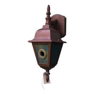 Birdhouse Bird House From a Copper Finish Light Fixture Upcycled Recycled Outdoor Spring Garden Decor in Copper Blue Green For Sale