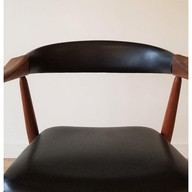 Thomas Harlev Model 213 Side Chair in Teak and Black Leatherette for Farstrup Møbler For Sale - Image 11 of 12