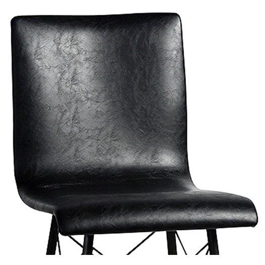Black Leather & Iron Bar Stool - Image 2 of 2