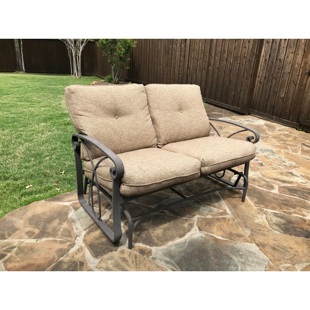Winston Palazzo Outdoor Love Seat Glider For Image 4 Of 7