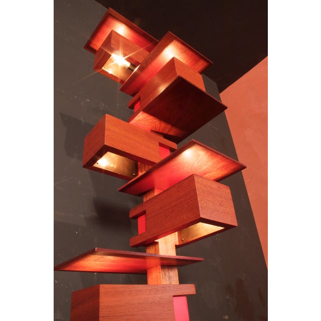 Wood Frank Lloyd Wright Style Floor Lamp For Sale - Image 7 of 9