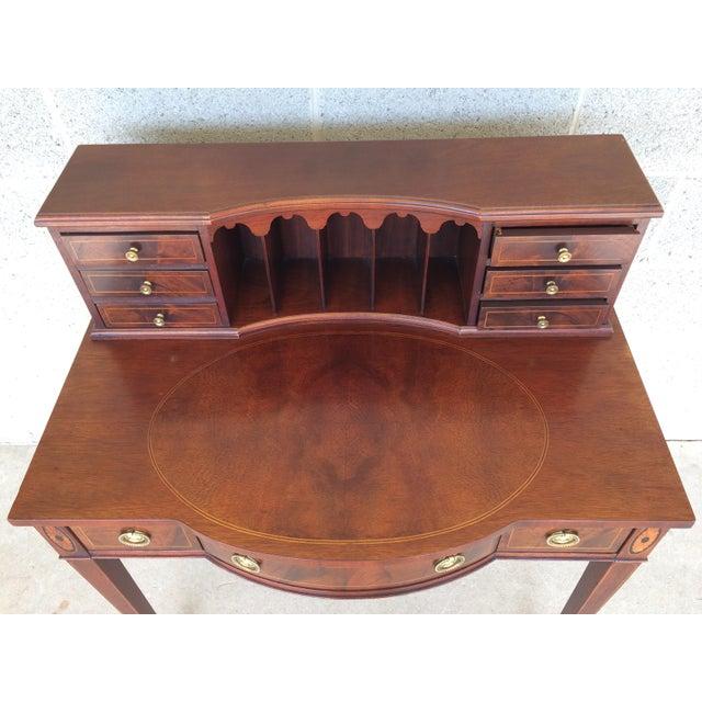 Mahogany Baker Furniture Inlaid Mahogany 9 Drawer Writing Desk For Sale - Image 7 of 9