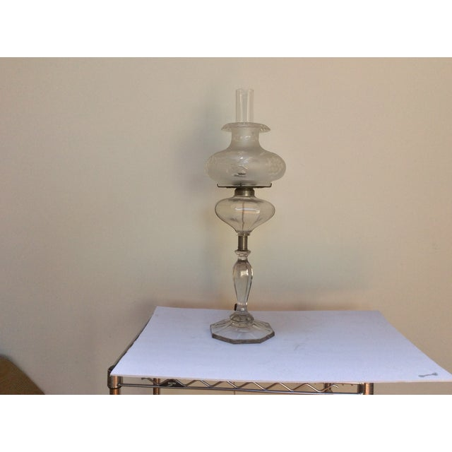 Antique Glass Oil Lamp Conversion With Shade For Sale In San Antonio - Image 6 of 9