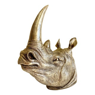 Figural Vegan Rhino Head Decor Wall Hook For Sale