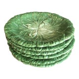 Image of Vietri Lettuce/Cabbage Plates, Ceramic, Green - Set of 6 For Sale