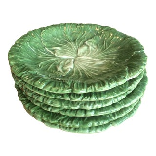 Vietri Lettuce/Cabbage Plates, Ceramic, Green - Set of 6 For Sale